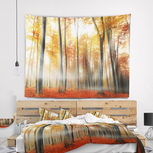 Designart 'Red and Yellow Leaves in Fall' Landscape Photo Wall Tapestry