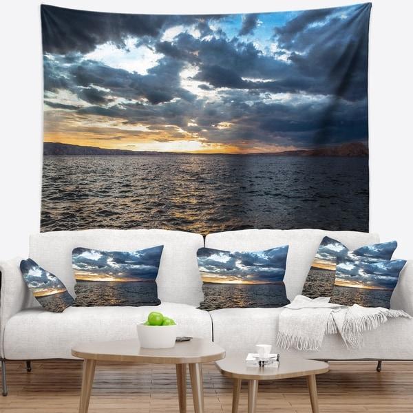 Designart 'Beautiful Seascape under Cloudy Sky' Modern Seashore Wall Tapestry
