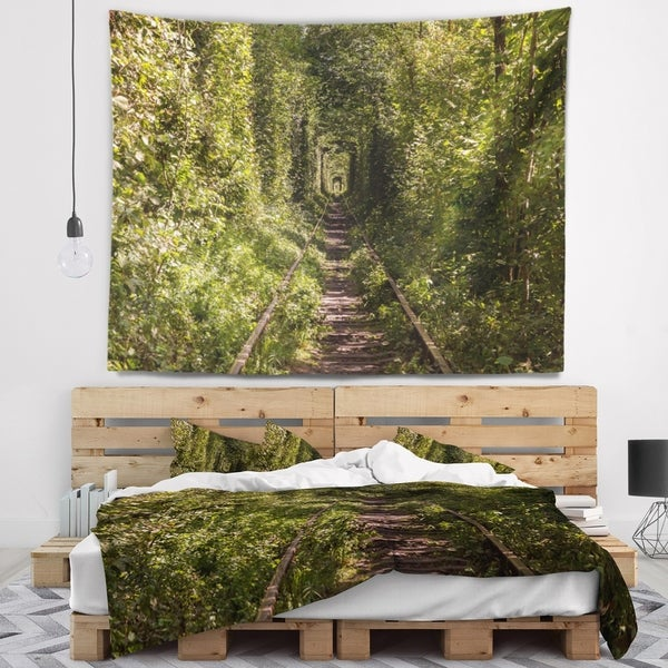 Designart 'Tree Rail Tunnel in Forest' Landscape Photo Wall Tapestry