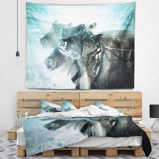 Designart 'Muzzle Reindeer in Frost' Animal Wall Tapestry