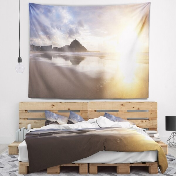 Designart 'Sunset at Donostia Beach' Seascape Wall Tapestry