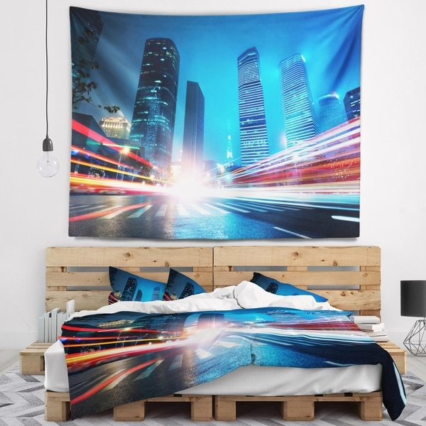 Designart 'Shanghai Lujiazui Finance at Night' Cityscape Wall Tapestry