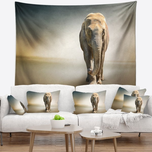 Designart 'Smart Elephant Walking' Animal Wall Tapestry