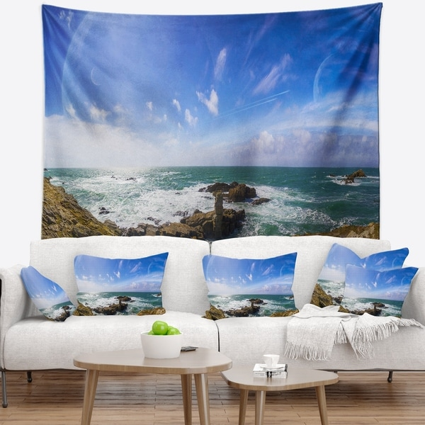 Designart 'Distant Planet System from Cliffs' Seashore Wall Tapestry