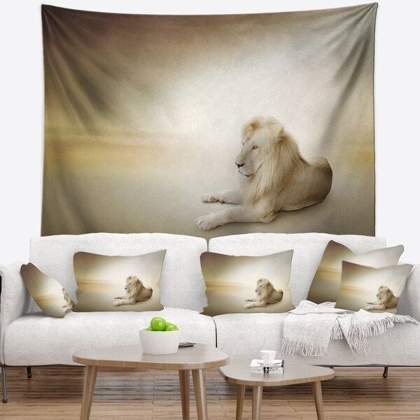 Designart 'Relaxing King of Animals' Animal Wall Tapestry