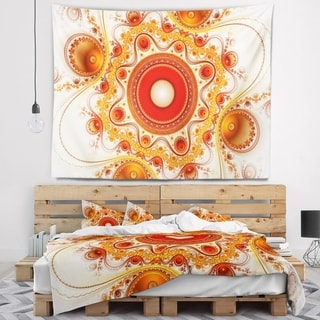 Designart 'Orange Fractal Pattern with Circles' Abstract Wall Tapestry