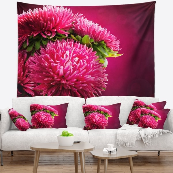 Designart 'Pink Flowers of Asters on Red' Flowers Wall Tapestrywork