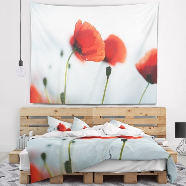 Designart 'Poppies on Background of Sea' Floral Wall Tapestry