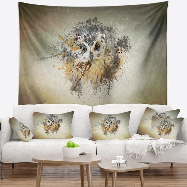 Designart 'Large Gracing Owl' Animal Wall Tapestry