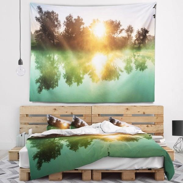 Designart 'Beautiful Summer River At Sunset' Landscape Wall Tapestry