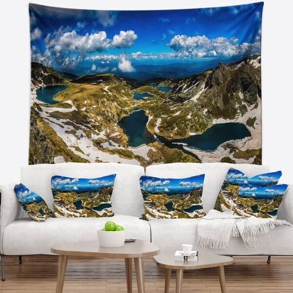 Designart 'Bright Blue Sky Over Seven Rila Lakes' Landscape Wall Tapestry