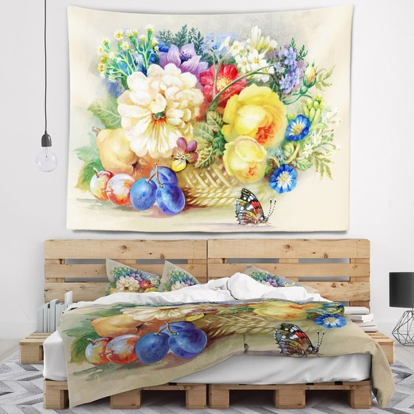 Designart 'Bunch of Flowers and Fruits' Floral Wall Tapestry