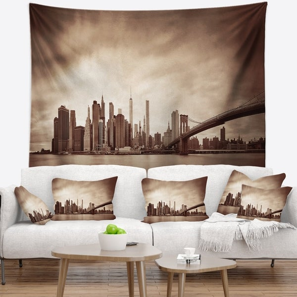 Designart 'Manhattan Financial District' Cityscape Wall Tapestry