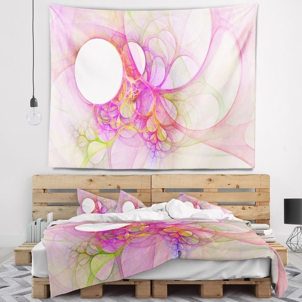 Designart 'Light Pink Angel Wings on White' Abstract Wall Tapestry