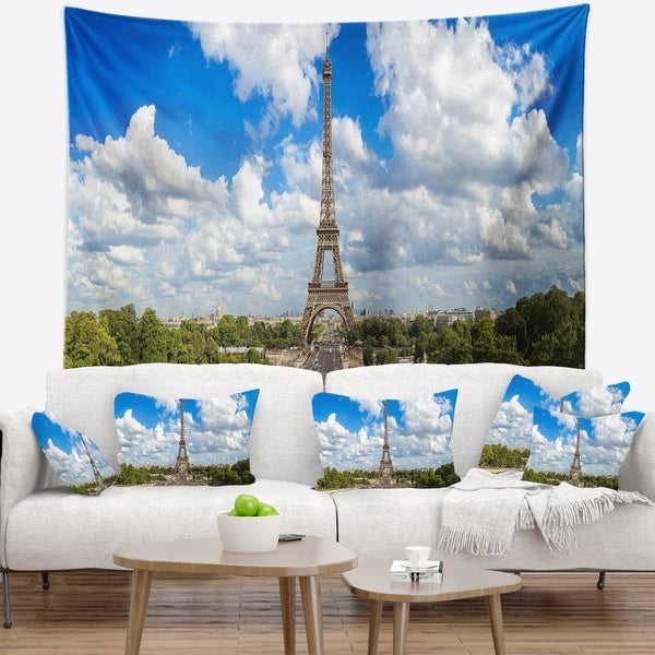 Designart 'Panoramic Paris Paris Eiffel Towerunder Clouds' Cityscape Wall Tapestry