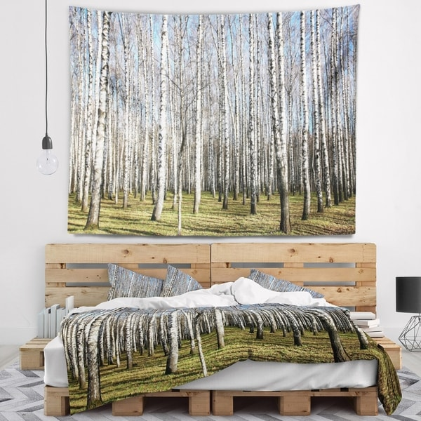Designart 'Sunny November Day in Birch Grow' Modern Forest Wall Tapestry