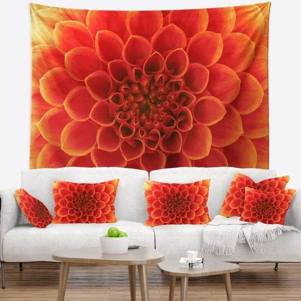 Designart 'Orange Abstract Flower Petals' Floral Wall Tapestry