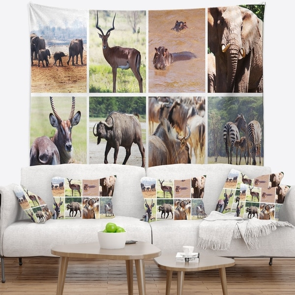 Designart 'Rich African Wildlife Collage' Animal Wall Tapestry