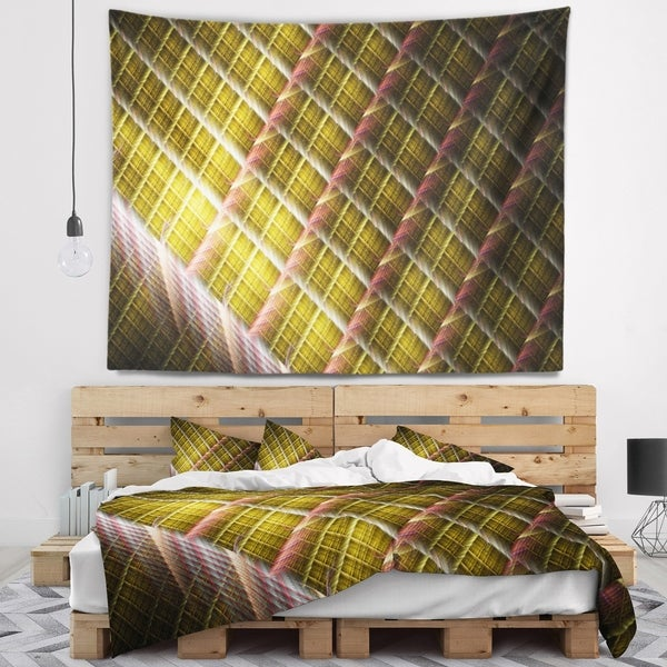 Designart 'Brown Metal Protective Grids' Abstract Wall Tapestry