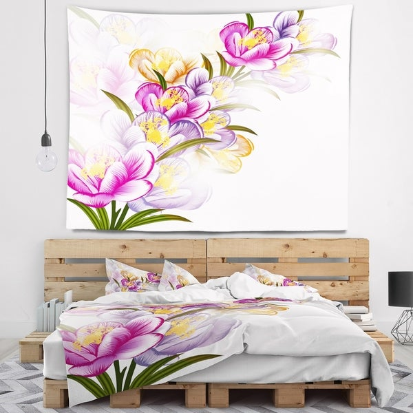 Designart 'Vector Purple Flowers' Floral Wall Tapestry