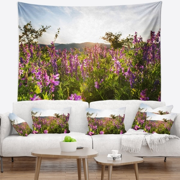 Designart 'Amazing Summer Pasture with Flowers' Floral Wall Tapestry