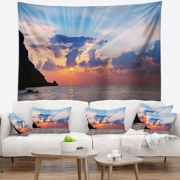 Designart 'Beautiful Raising Sun and Mountains' Landscape Wall Tapestry