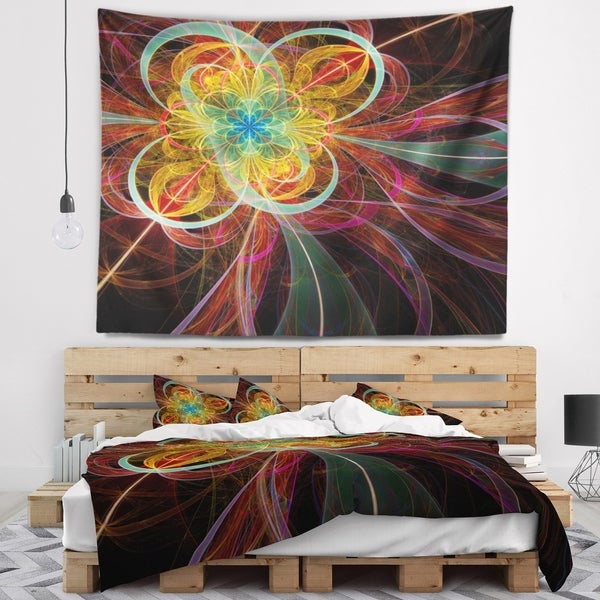 Designart 'Colorful Red Fractal Flower' Abstract Wall Tapestry
