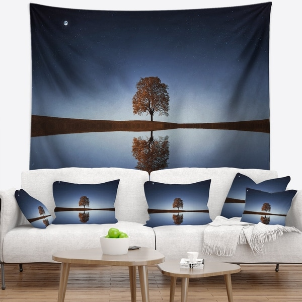Designart 'Tree Near Lake at Night' Landscape Photography Wall Tapestry