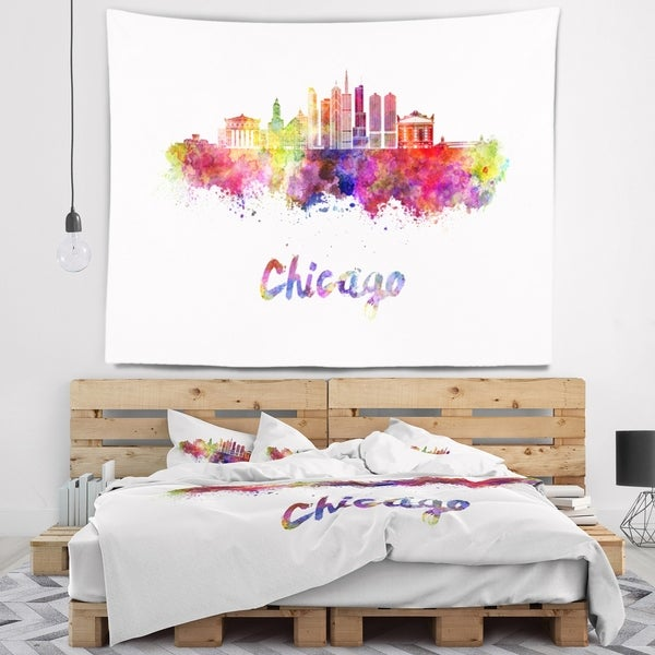 Designart 'Colorful Chicago Skyline in Watercolor' Cityscape Wall Tapestry