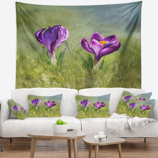Designart 'Crocus Couple' Floral Wall Tapestry