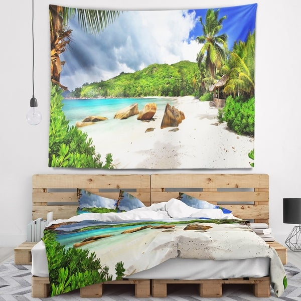 Designart 'Seychelles Islands Wide Panorama' Landscape Wall Tapestry