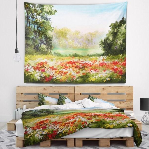 Designart 'Poppy Field with Sky' Landscape Wall Tapestry