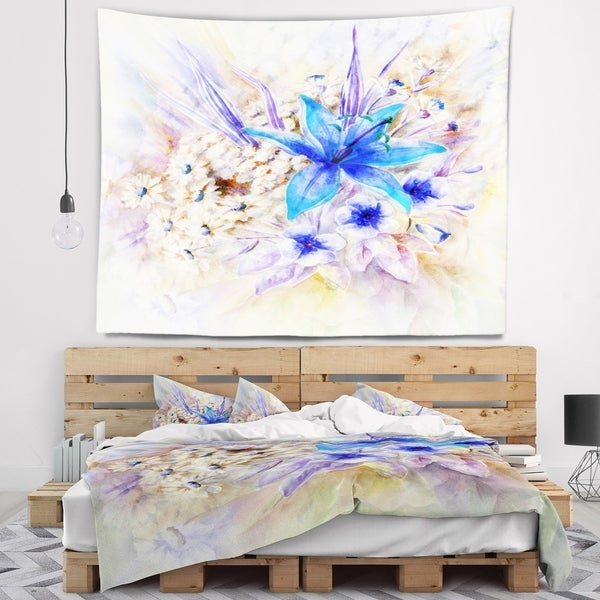 Designart 'Flowers Leaves Watercolor Art' Floral Wall Tapestry