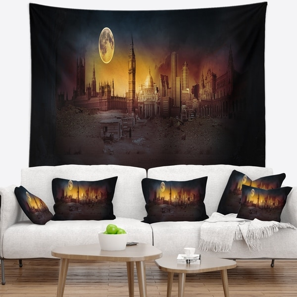 Designart 'Mysterious Apocalyptic City' Landscape Wall Tapestry