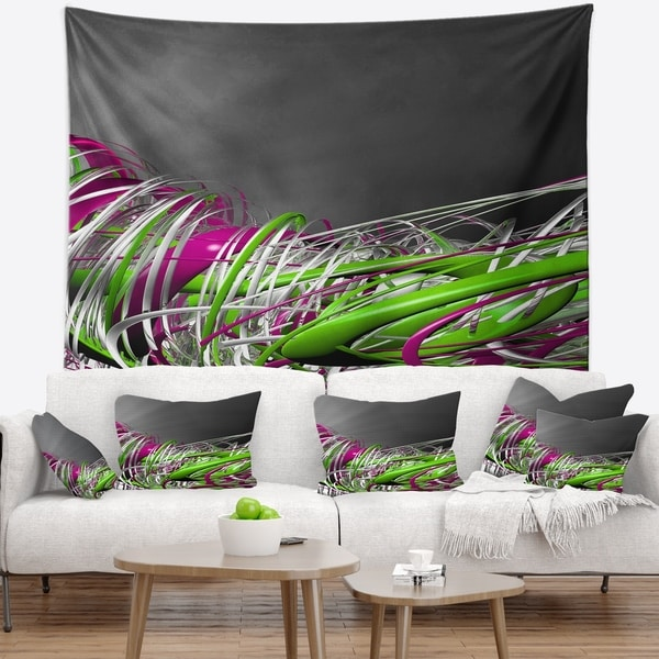 Designart 'Fractal 3D Green Purple Stripes' Contemporary Wall Tapestry