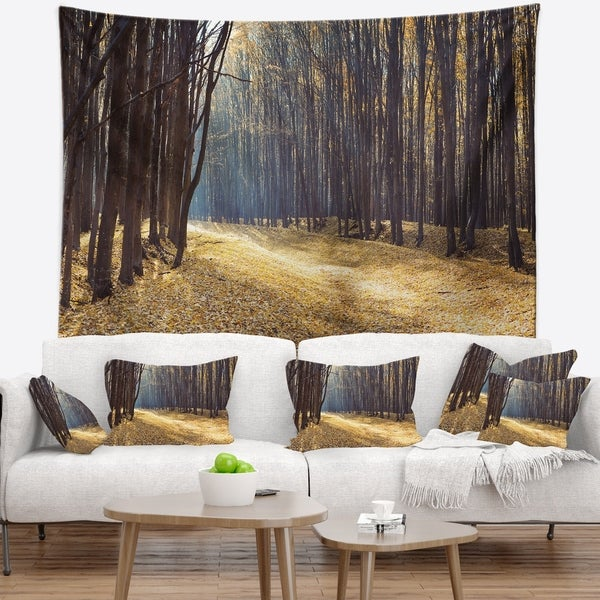 Designart 'Path in the Fall Forest Panorama' Forest Wall Tapestry