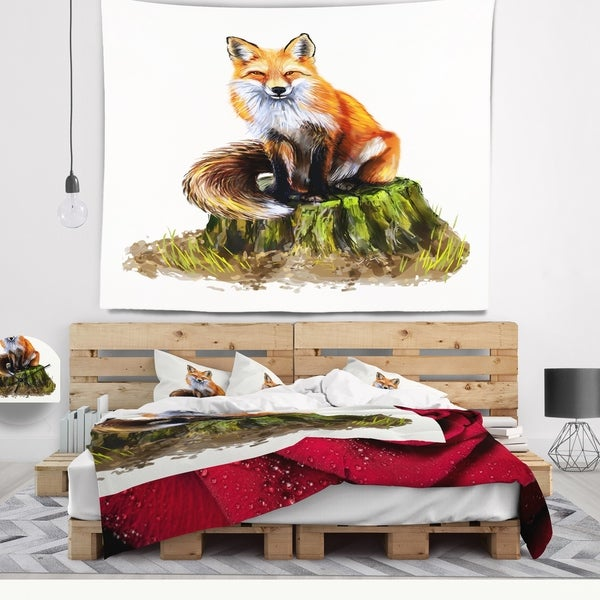 Designart 'The Clever Fox Illustration' Animal Wall Tapestry