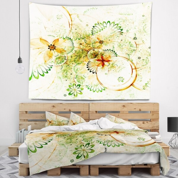 Designart 'Yellow Green Grungy Floral Shapes' Floral Wall Tapestry