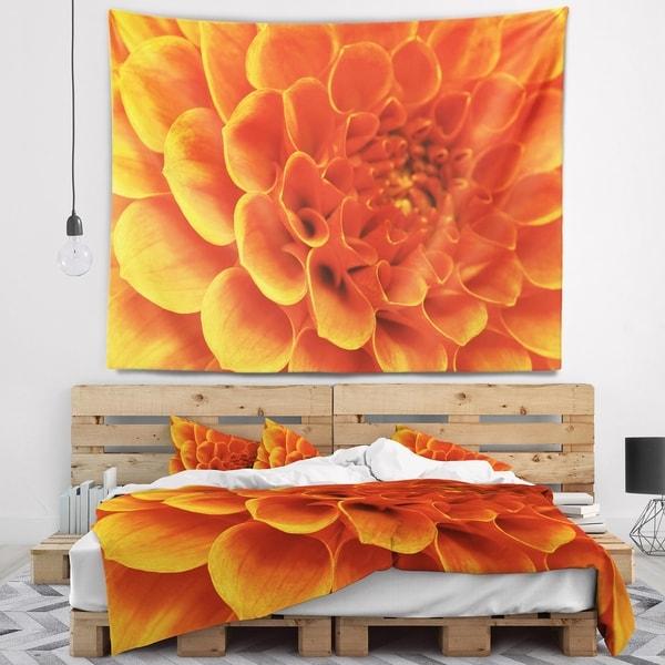 Designart 'Large Orange Flower and Petals' Floral Wall Tapestry