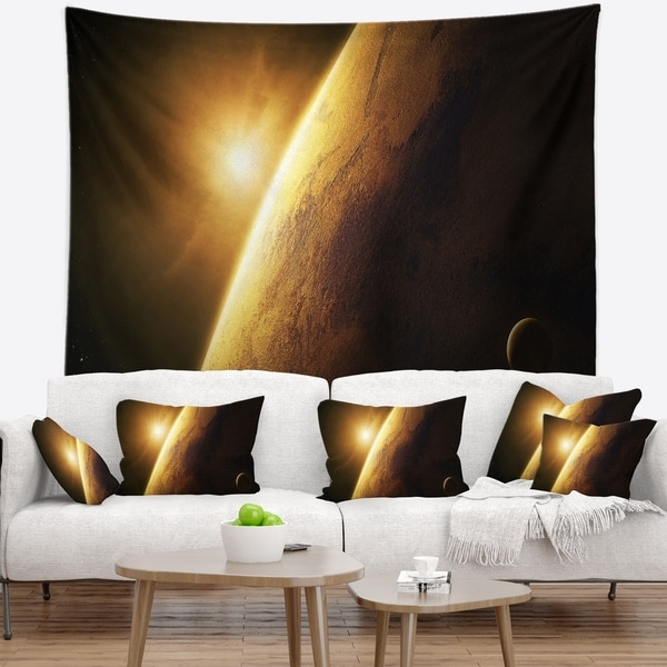 Designart 'Planet Mars Close up with Sunrise' Landscape Wall Tapestry