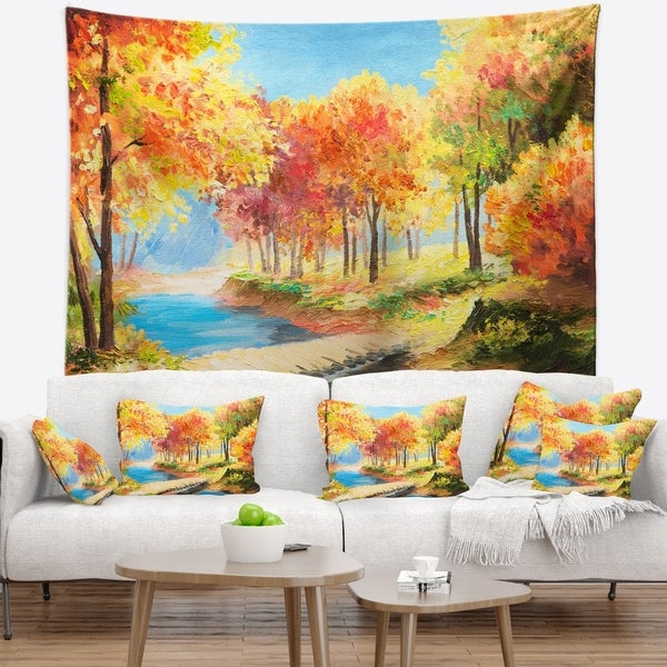 Designart 'Wooden Bridge in Colorful Forest' Landscape Wall Tapestry