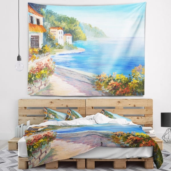 Designart 'House Near Blue Sea' Landscape Wall Tapestry