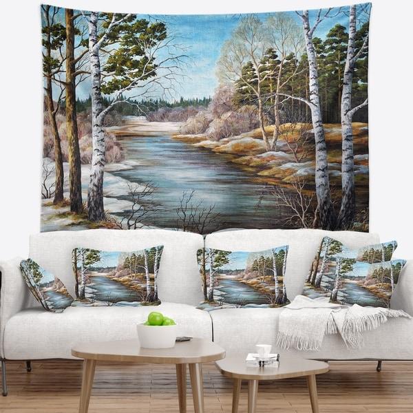 Designart 'The spring Siberian River' Landscape Wall Tapestry