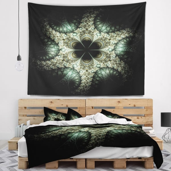 Designart 'Yellow and Green Fractal Flower' Abstract Wall Tapestry