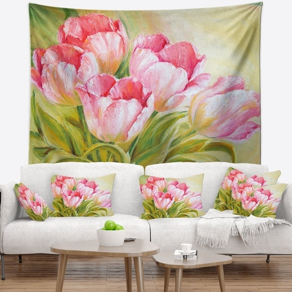 Designart 'Bunch of Tulips Oil Painting' Floral Wall Tapestry