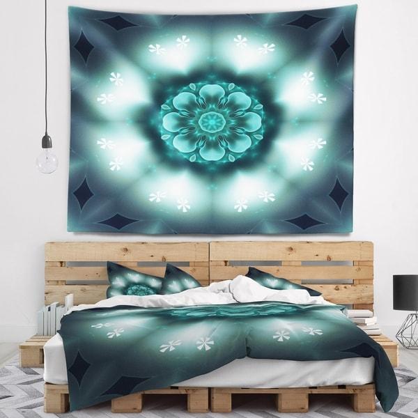 Designart 'Green Fractal Flower Mandala Shape' Floral Wall Tapestry