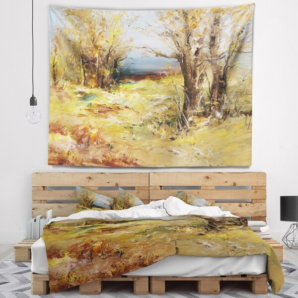 Designart 'Yellow Forest' Landscape Wall Tapestry