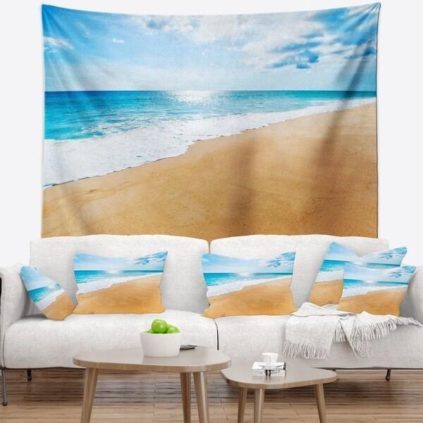Designart 'Serene Beach and Sun Daylight' Modern Beach Wall Tapestry