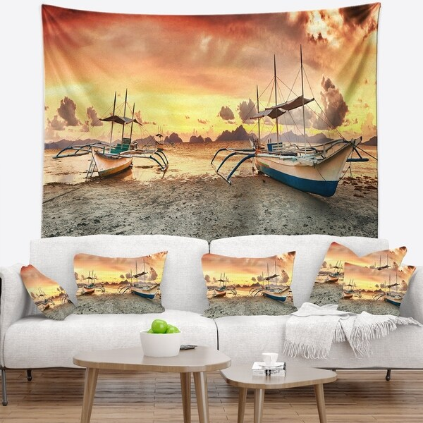 Designart 'Boats at Sunset' Seashore Photography Wall Tapestry