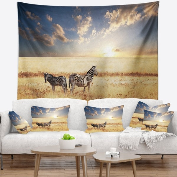 Designart 'Zebras in Beautiful Grassland At Sunset' African Wall Tapestry
